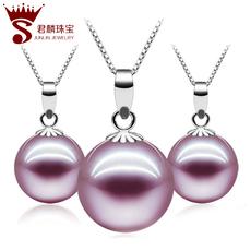 君麟珠宝 天珍珠吊坠项链紫色正圆18K金淡水珍珠吊坠然送妈妈正品