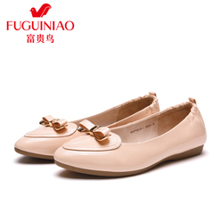 Fuguiniao shoes leather shoes, spring 2016 new products women's flat shoes women shoes with bow light