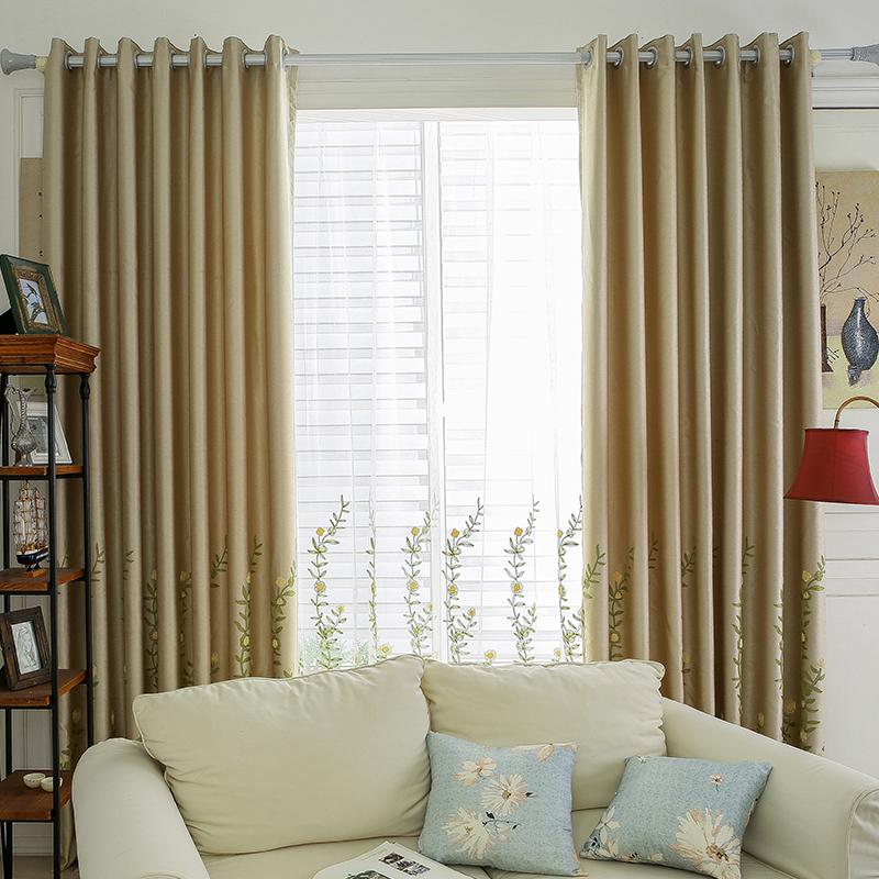 Dranka现代简约田园定制窗帘成品绣花遮光客厅卧室落地窗飘窗帘布