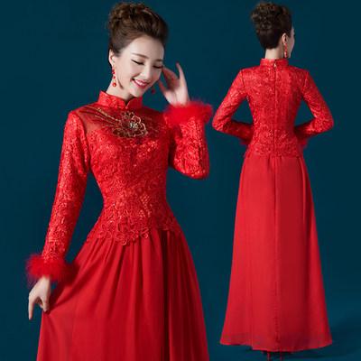 旗袍新款2015秋季敬酒服新娘中式修身红色结婚礼服长款长袖女冬装