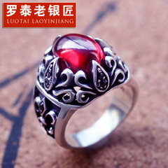 S925 silver anchor personality atmospheric red zircon ring men Black Onyx flower ring ring City boy fashion