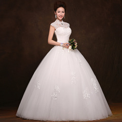 Purple Fairy spring new bridal wedding gowns 2015 pettiskirt lace shoulder retro collar shoulder wedding dress