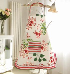 Cotton linen thick apron cotton cute Korean fashion kitchen apron sleeves ladies lace princess antifouling and oil