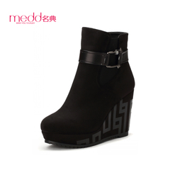 Name code 2015 fall/winter new style of round-headed female thick-soled high heel wedges boots belt buckle elastic sponge cake Martin boots