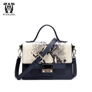 Wan Lima 2015 new European and American fashion handbag snakeskin leather hand doctor bag color Crossbody bag