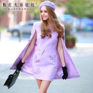 2015 spring dress big pink doll new cloak of boom pin bow wool dress