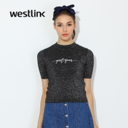 Westlink/West spring 2016 new sparkling silver letters and a half high neck short sleeve t-shirt woman