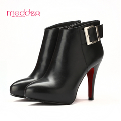 Name code 2015 platform high heel pointy in the fall/winter new bare-metal belt buckle boots stiletto zipper ankle boots women