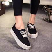 Korea mail white shoe low pointed toes canvas shoes with casual female thick-soled platform shoes Korean wave