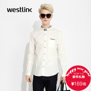 Westlink/West fall 2015 new collar pockets contrast color stitching men's cotton long-sleeved white shirt