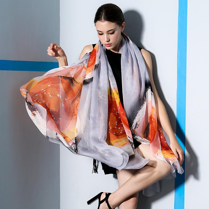 新款真丝丝巾女夏季百搭桑蚕丝沙滩防晒披肩围巾两用长款空调纱巾