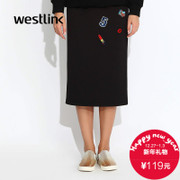 Westlink/West fall 2015 the new long skirts slit skirt hip bust in a long black dress printed dress