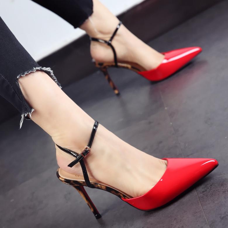 【5元无条件券】红色ol婚鞋子2017夏季新款尖头鞋漆皮细跟高跟鞋豹纹