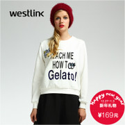 Westlink/2015 winter new alphabet print hem coat of arms in the West zipper long sleeve turtleneck women's sweater