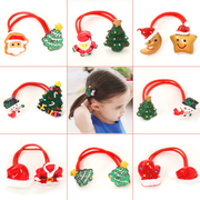 Know Nicole painted Santa children Christmas ornament double head band baby girls hair hair band rope