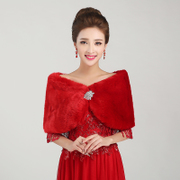 Honey marriage wedding dress shawl thickened woolly shawls all roads lead to shawl red shawl PJ003