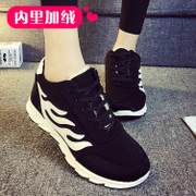 2015 winter season Korean flat casual sneakers running shoes ladies plus cotton students are thick and plush cotton-padded shoes at the end of the tide