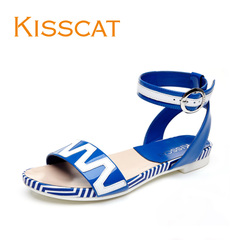 KISS CAT/Kiss cat 2015 summer new style leather flat women's shoes spell color stripes toe ring band sandals