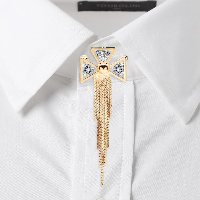 韩版高档锆石胸针胸花男西服徽章别针饰品女衬衫领扣流苏领针领花