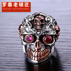 Vintage skull ring 925 sterling silver men''s ring finger skull Wang Jiezi domineering fashion
