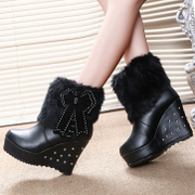 New wedges shoes winter boots high heels and velvet snow boots and thick platform at the end of circular head high women''s winter boots