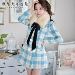 Wool coat women pink doll winter new tide casual Plaid long double-breasted coat