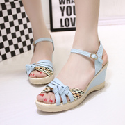 2015 summer styles women's comfortable wedges heels sandal platform platform platform woven color sandal woman