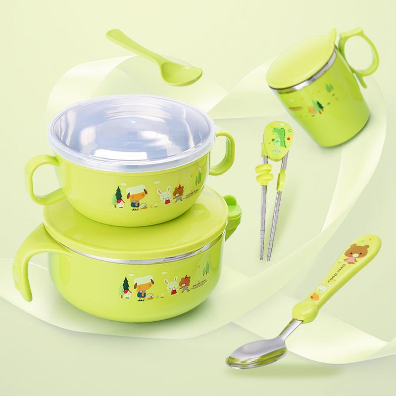 儿童碗筷套装 不锈钢 防摔 婴儿注水碗保温碗宝宝餐具套装送吸盘