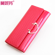 Fashion embossed Brownies for 2015 new long boom purse Korean stone grain leather wallet