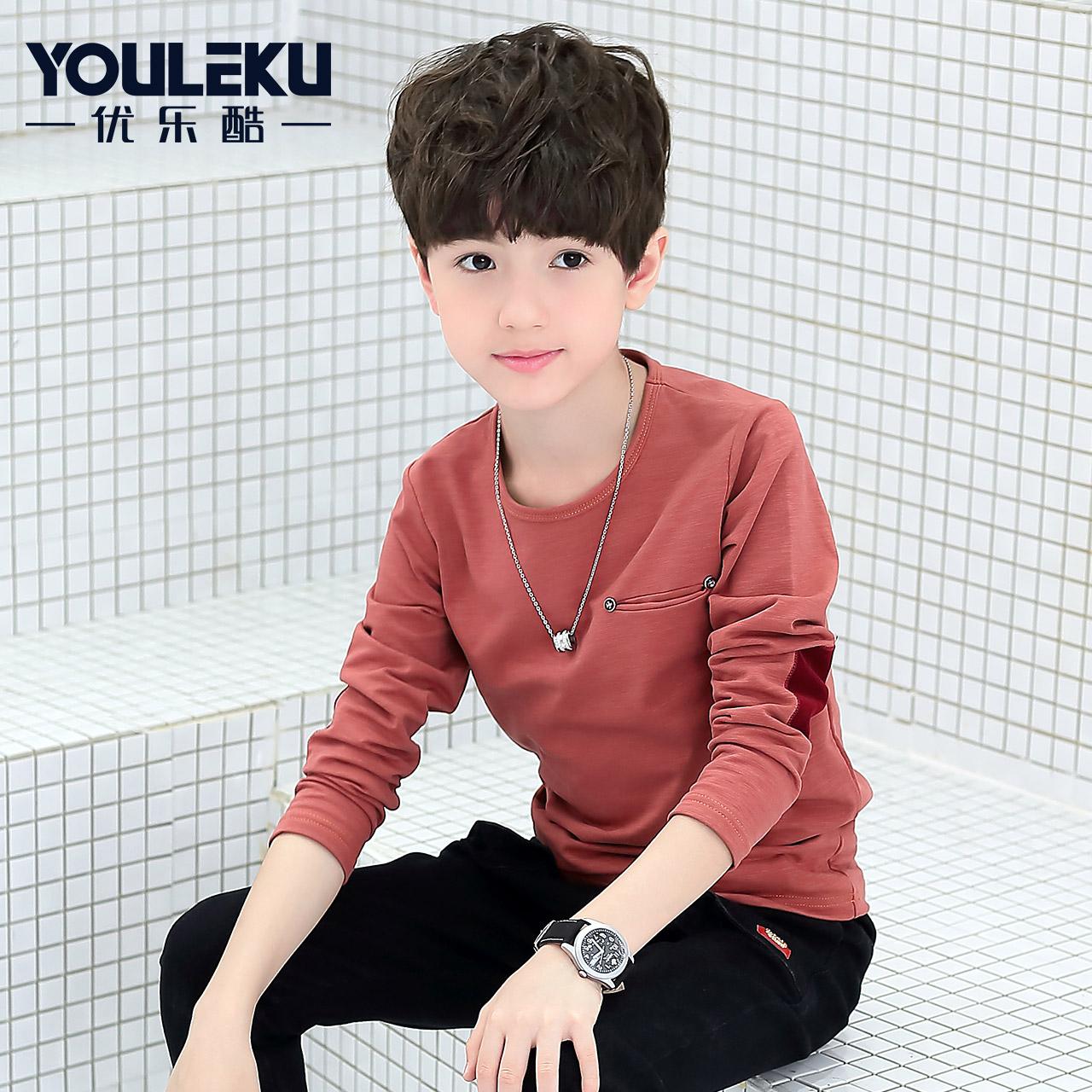 男童t恤長袖上衣秋裝兒童男孩打底衫純棉鼕季加厚加絨保暖大童裝