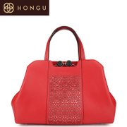 Honggu red Valley counter 2016 new solid colors air national wind fashion handbags leather handbags 6974