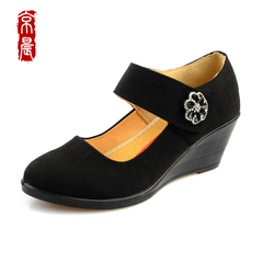 Beijing morning old Beijing cloth shoes women's shoes casual shoes with black female frock shoes spring breathable comfort shoes