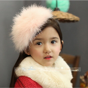 Open fall/winter ornaments new Korea hair accessories for children Princess feather hats ostrich feather headband hair hoop card headwear