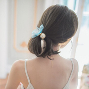 Know NI Juan yarn lace fashion circle made by the little clock string rope made by Korean Ribbon Pearl elastic hair accessories
