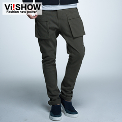 Viishow2015 spring multi-Pocket cargo pants new men's casual pants straight leg pants skinny men's pants