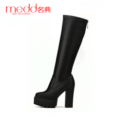 Name code 2015 women boots fall/winter new style thick high heel platform boots with round head with skinny rider long boots