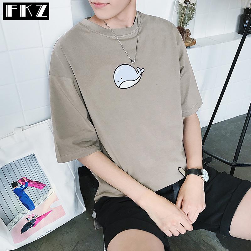 【2件装】夏季2017新款男士短袖t恤韩版潮流半袖男生体恤五分袖
