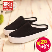 Becky's summer light breathable canvas shoes slippers slippers half Korean version of lazy people drag-and-muffin thick-soled shoe bag-mail