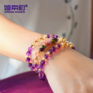 娅索韵520情人节礼物水晶紫水晶手绘管多层手链女士韩版闺蜜