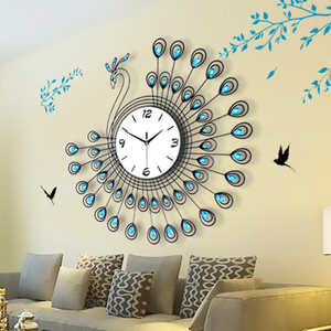 Peacock creative personality living room wall clock big European fashion simple quartz watches modern mute clock