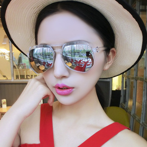 2016 new tide female star models sunglasses color film round sunglasses retro sunglasses round eye tide male