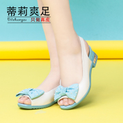 2015 summer new casual sweet bow wave fish mouth leather shoes flats Sandals Tilly cool foot