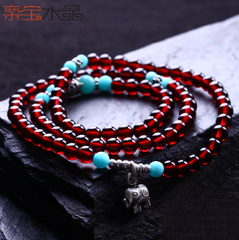 Crystal Royal treasure wine hot Brazil female coil multi-layer natural Garnet bracelets jewelry bracelets