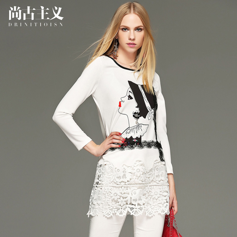 尚古主义女装春装新款镂空印花上衣修身长袖T恤中长款蕾丝打底衫