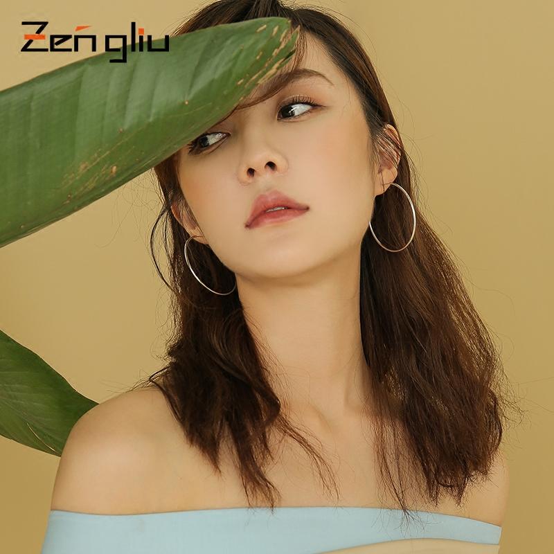925银大小耳圈女韩国个性气质耳坠耳钉简约大气耳饰圆形圆圈耳环