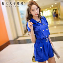 Jumpsuit pink doll 2015 summer new women's casual pants double breasted Siamese shorts