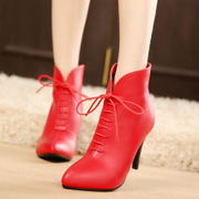 Strange love of autumn new style women boots laced Martin boots stiletto high heel short boot women's ankle boots red wedding shoes boots