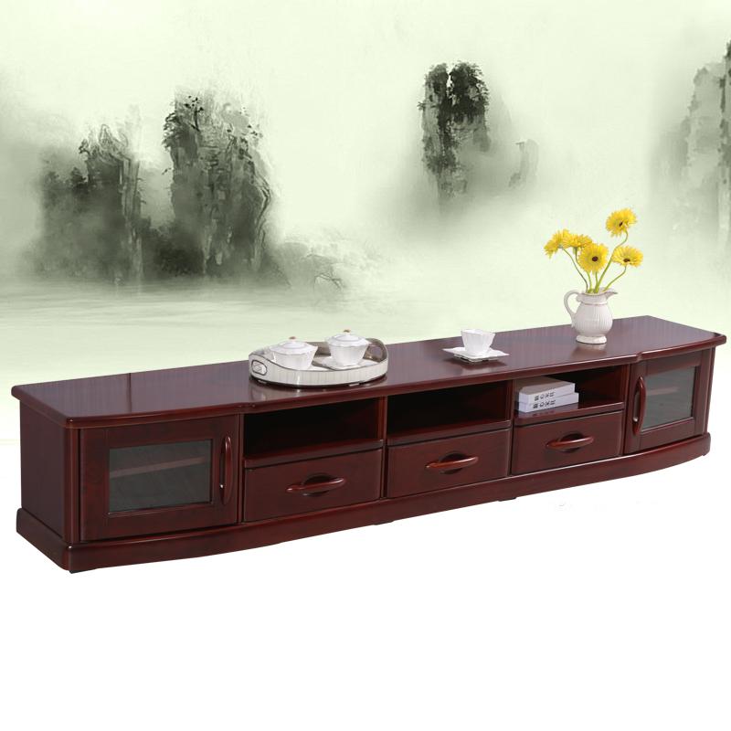 顺心 实木电视柜组合 现代中式家具2.4M水曲柳电视柜地柜客厅柜