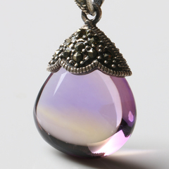 Natural old color shading within Ametrine pendant ladies 925 Thai silver inlay necklace old customer benefits