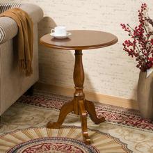 实木(小)圆桌美式沙发边桌欧du9简约圆茶ao边几角几咖啡电话桌